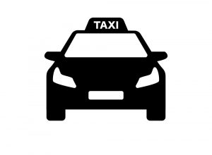 black and white taxi logo with modern car